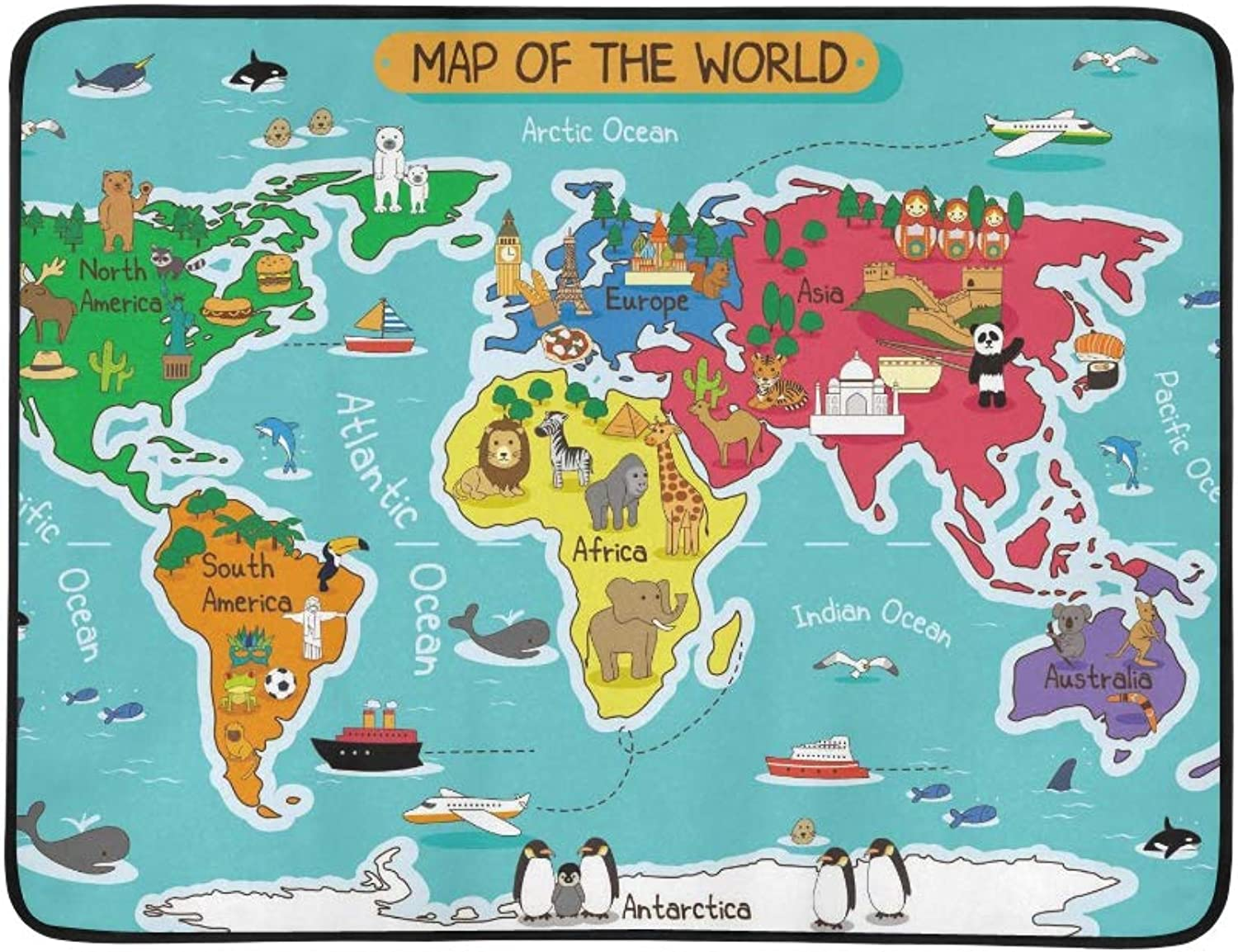 A Vector Illustration of Map of The World Pattern Portable and Foldable Blanket Mat 60x78 Inch Handy Mat for Camping Picnic Beach Indoor Outdoor Travel