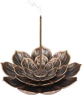 Porte-encens en Laiton en Forme de Lotus Miotlsy-Brûleur d'Encens en Bâton Porte-Brûleur d'Encens à Cône avec Capteur de C...