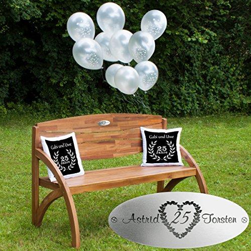 Silberhochzeit Set Kissen Dunkelrot - Gartenbank Holz Hadia mit personalisierter Gravur, Luftballons und Zwei Kissen - persönliche Geschenke zur Silberhochzeit