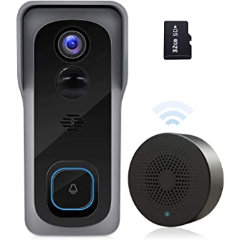 【2020 Upgrade】 WiFi Video Doorbell Camera, 1080P Wireless Home Security Door Bell, 32GB SD Card/Chime, Camera Doorbell Wi-Fi with Motion Detector Waterproof, 2-Way Audio/Night Vision/166° Wide Angle