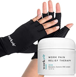 Workvie Pain Relief Cream and Copper Compression Gloves Set - Arthritis, Carpal Tunnel, Hand Pain - Women or Men (Medium)