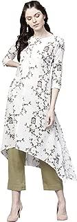 Ishin Women's Rayon White Printed A-Line Kurta Palazzo Sets