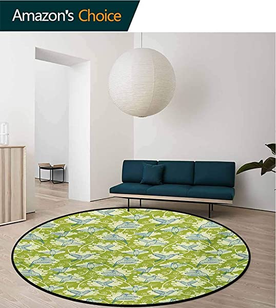 RUGSMAT Hummingbirds Non Slip Area Rug Pad Round Birds Pattern On Floral Background Springtime Garden Wings Artful Protect Floors While Securing Rug Making Vacuuming Diameter 47 Inch