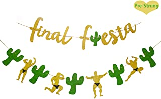 Gold Glittery Final Fiesta Banner and Glittery Cactus Man Garland- Mexican Fiesta Theme Party Decor Bachelorette Wedding, Bridal Shower Banner, Last Ole Banner, Hen Party Decorations