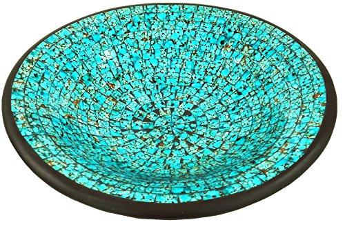 Guru-Shop Runde Mosaikschale, Untersetzer, Dekoschale, Handgearbeitete Keramik & Glas Obst Schale - Design 20, Türkis, Größe: Klein (Ø 29 Cm), Schalen