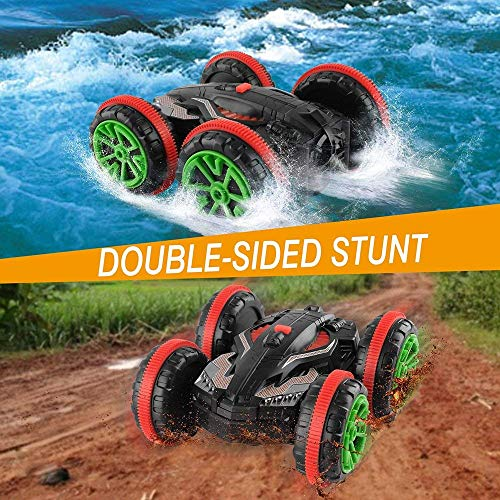 Rabing RC Car 2.4 Ghz 4WD Stunt Car 6CH Remote Control Amphibious Off Road Electric Race Double Sided Car Tank Vehicle 360° Spins & Flips Land & Wate
