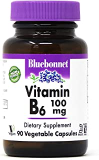 Bluebonnet Nutrition Vitamin B6 Vegetable Capsules, 100 mg, for Cardiovascular and Nervous System Health, Soy Free, Gluten...