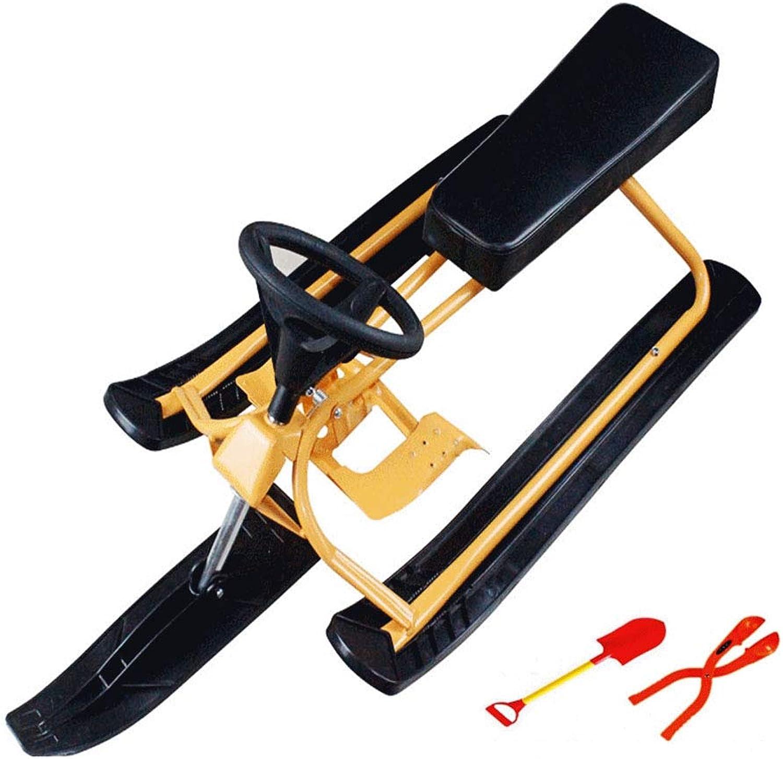 YOUYE Schlitten mit Lenkrad und Doppelbremse Snow Racer für Kinder ab 6 Jahren - für Zwei Kinder oder einen Jugendlichen