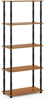 Furinno Turn-N 5-Tier Display Rack with Classic Tube, Light Cherry/Black