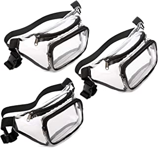 Fanny Pack, Veckle 3 Pack Clear Fanny Pack Waterproof Cute Transparent Waist Bag Stadium Approved Clear Purse for Women Men, Travel, Beach, BTS Concerts, Events, Black