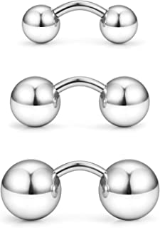 Yaalozei 3PCS 14G Stainless Steel Externally Threaded Curved Barbell Tragus Ring Cartilage Jewelry w 6mm 8mm 10mm Big Balls