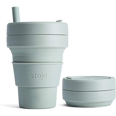 Stojo Collapsible Coffee Cup | Reusable To Go Large Pocket Size Travel Cup – Sage Green, 16oz / 470ml | With Straw