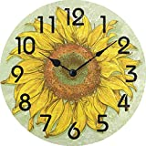XinsFaith Silent Decorative Wall Clock Realistic Vintage Sunflower Wooden 10 Inch Wall Decor Arabic Numerals for Bedroom Living Room Kitchen Frameless