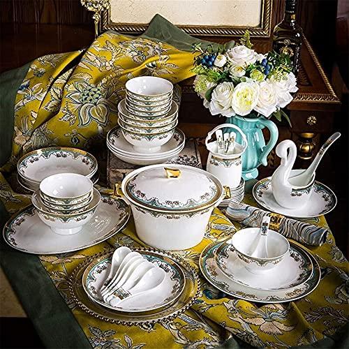 ZRB Juego de vajilla clásica, juegos de cena de cerámica, caja de regalo de elegancia europea de 58 piezas, juego de vajilla de tazón/cuchara/plato, fiesta familiar y restaurante de cocina