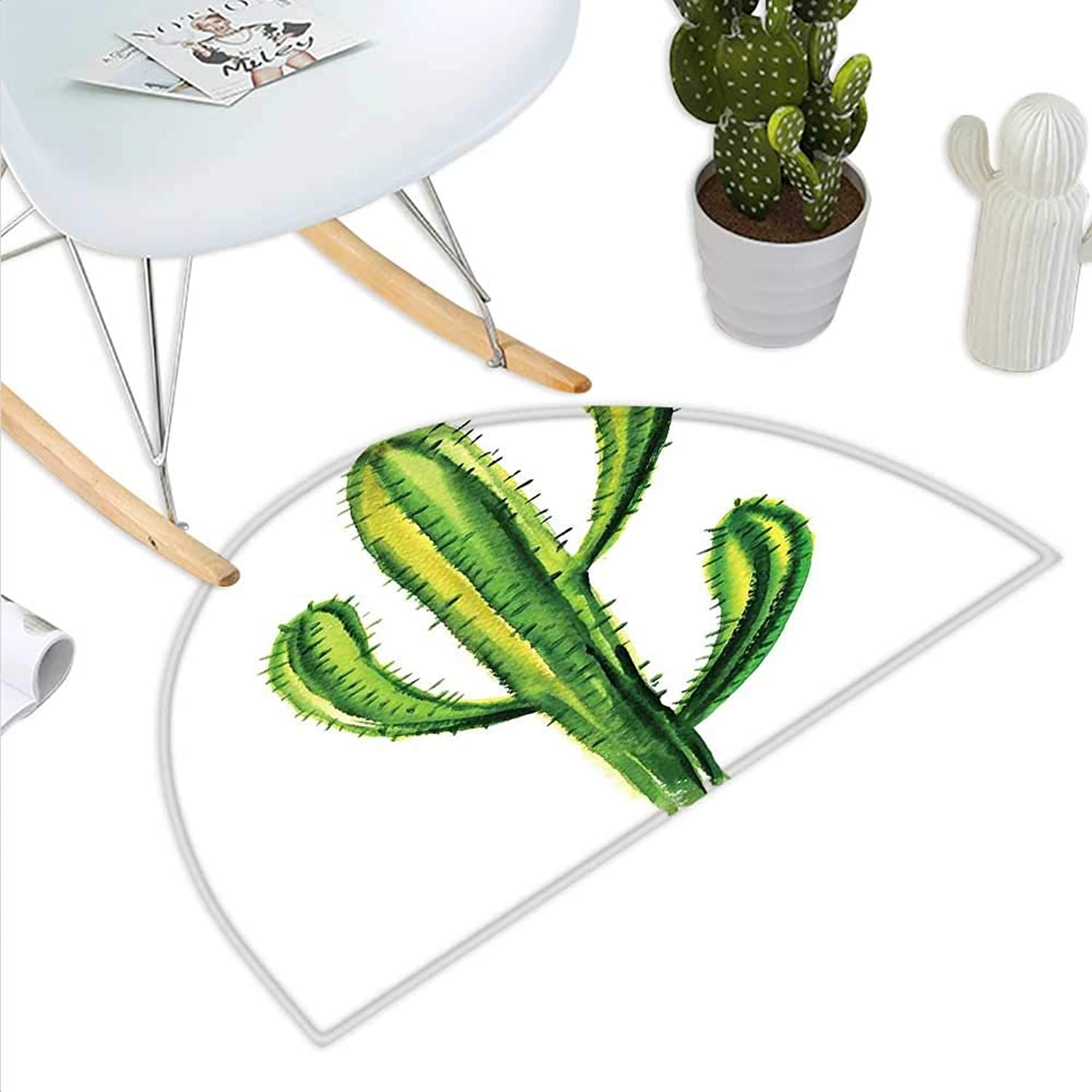 Cactus Semicircle Doormat Mexican Hot Desert Cactus Flower Plant Botanic Design Nature Cartoon Like Print Image Halfmoon doormats H 35.4  xD 53.1  Green