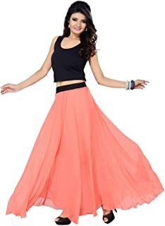 Sttoffa Peach Color Georgette Skirt 40 inch Length and Full Lining Long Skirt SGLS11