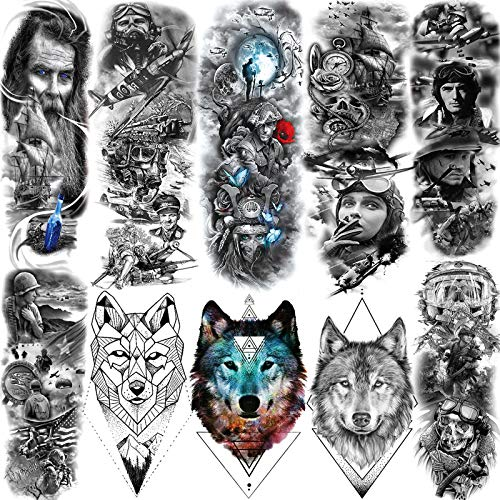 SANATA 10 Sheets 3D American Soldier Pride Full Arm Temporary Tattoo Sleeve For Men Women Geometric Wolf Face Patriotic American Flag Temporary Tatoos Kids Pirate Portrait Fake Tattoo Sleeve Military