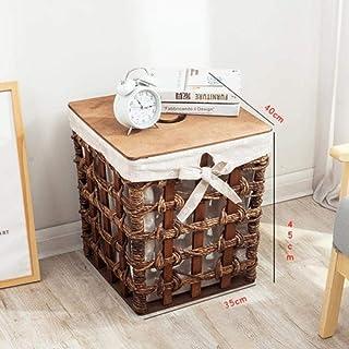 HYY-YY Panier de paille à la main Jouet Boîte de rangement avec couvercle panier Salon tissé panier de stockage de table