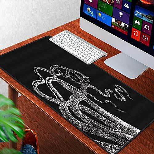Luoquan Alfombrilla Raton Grande Gaming Mouse Pad,Tentáculos de Pulpo Blanco Negro Vintage Mar Calamar Marino Kraken Náutico Costal,Lavable, Antideslizante Diseñada para Gamers, Trabajo de Oficina