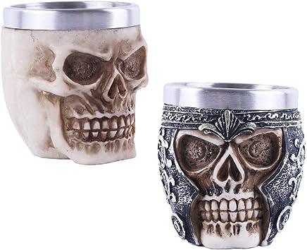 Preisvergleich für Sharplace 2er-Set Totenkopf Skull Schädel Becher Gothic Halloween Deko