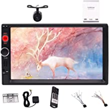 Backup Camera Double DIN 2DIN Car Stereo 7 Inch Capacitive Touch Screen GPS Navigation Bluetooth Radio Screen Mirror USB AUX TF Card HD 1080P Video Wallpaper Illuminating Light Button SWC Multi Langua