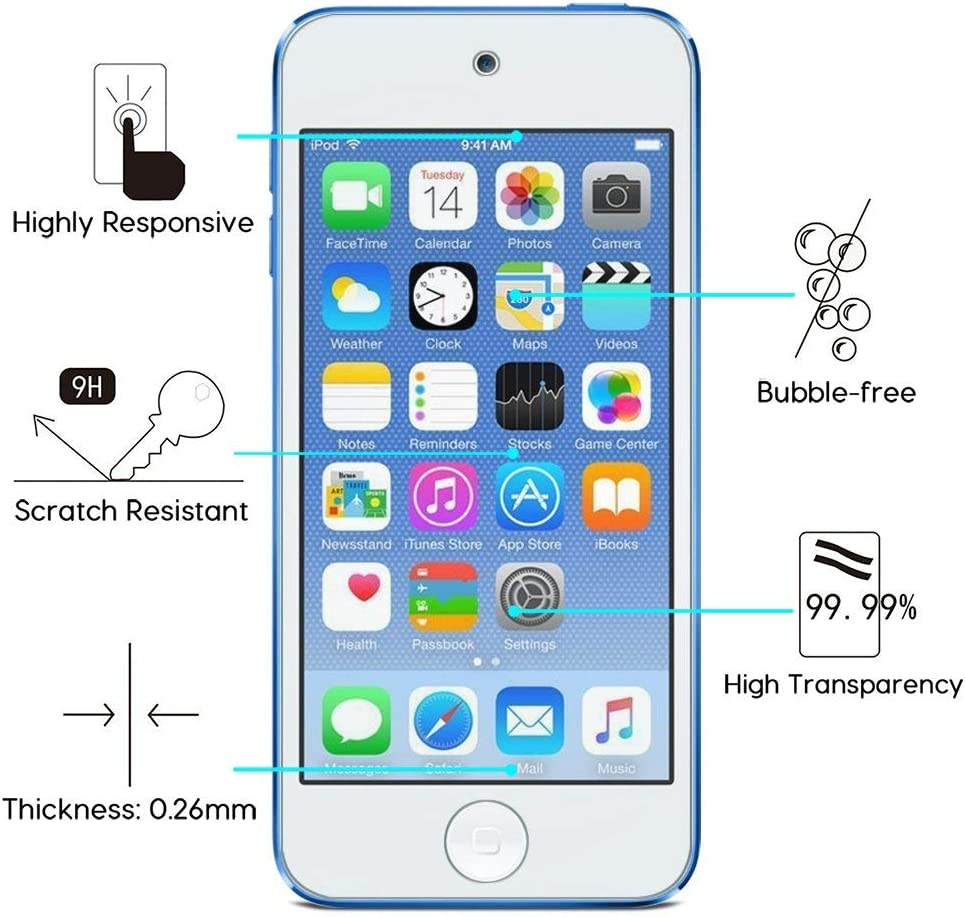 OMOTON [4 Pack] Tempered Glass Screen Protector for New iPod Touch (7th Gen 2019 Release / 6th & 5th Gen)