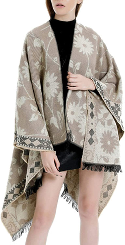 Damen Winter Floral Print Poncho Capes Quaste Decke Schal Wrap Cardigan Mantel Beige
