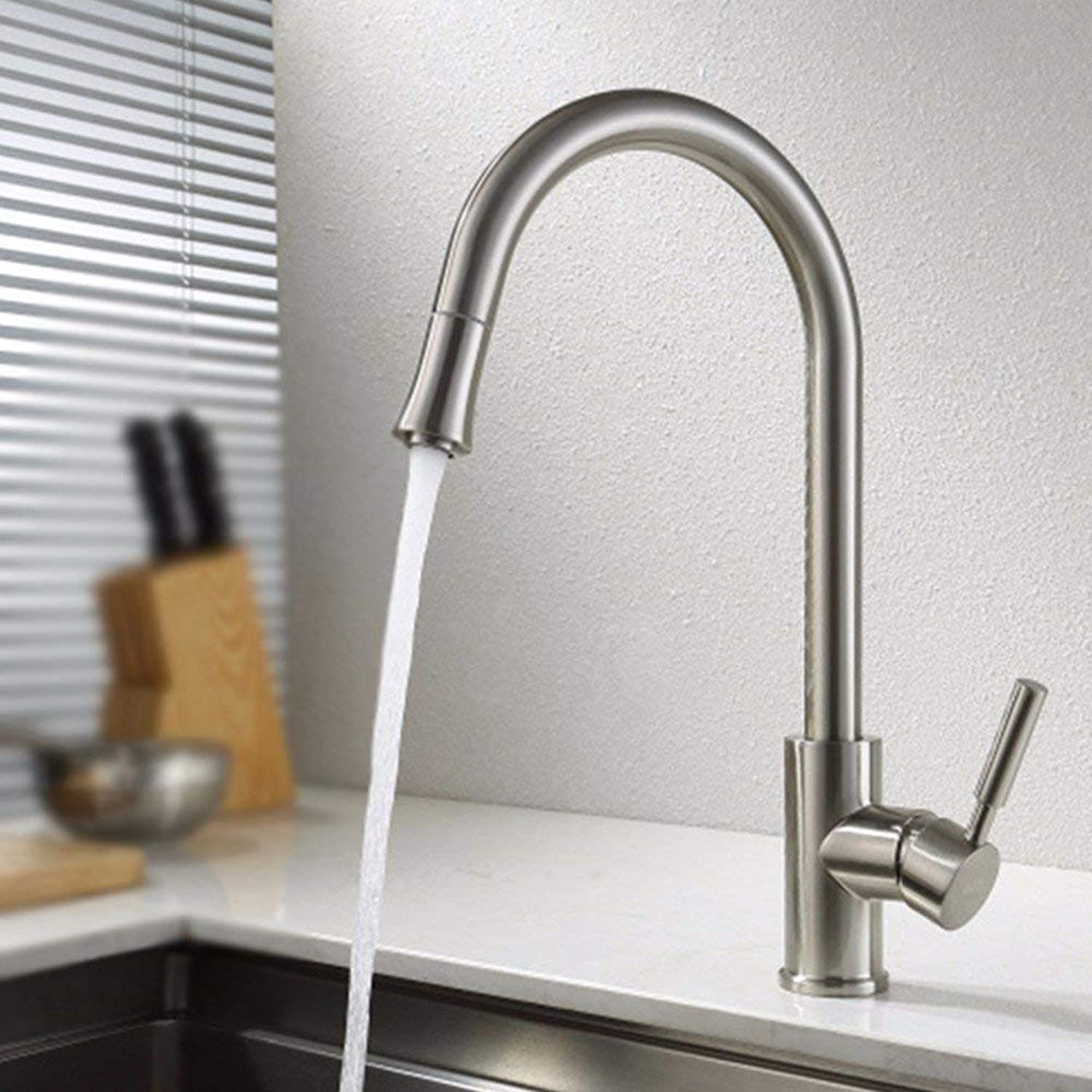 CFHJN HOME redary Hot And Cold Kitchen Pull Out Wash Basin Stainless Steel Single Handle Single Hole Sink Faucet