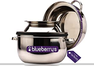 Blueberry's 1.5 Kg Double Layer Stainless Steel Thermal Rice Cooker Choodarapetty for Home with Stainless Steel Pot & Rubb...