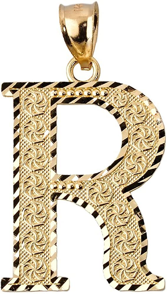 10k Yellow Gold Initial Letter R Charm Pendant, 0.7