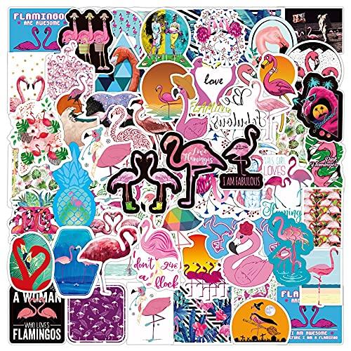 SHUHU Pegatinas de Dibujos Animados de Animales flamencos Kawaii, Equipaje de Viaje, Nevera, portátil, Impermeable, Pegatina de Graffiti, calcomanía para Chico, Juguete, Regalo, 50 Uds.