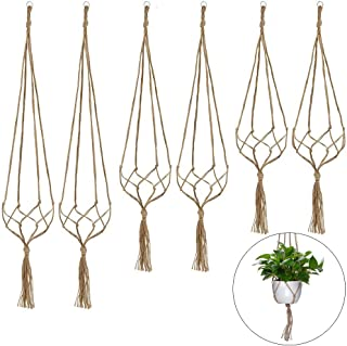 GINXIA 6 Pack Plant Hangers, Hanging Plant Holder Hanging Planter Stand Decorative Handmade Flower Pots Holder for Indoor Outdoor Home Decor