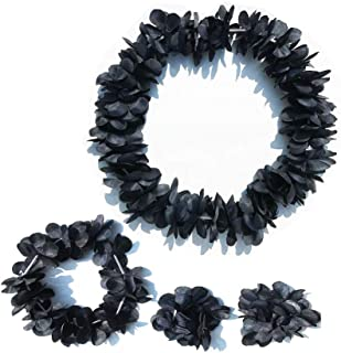 LITTLE FEATHER Halloween Decor Leis for Tropical Hawaiian Luau Headband Bracelets Party Favors,Set of 4 (Black)