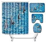 N/Z Ocean - Juego de 3 piezas para baño de cocina o dormitorio, sala de estar, alfombra de eBay, océano 086, 50 cm x 80 cm de tres piezas + 180 cm de cortina de ducha