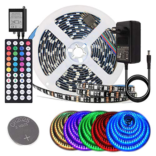BIHRTC 5050 SMD 5M 16.4ft RGB 300 LED Streifen Set Kit Strip Licht Lichtband Lichtstreifen Wasserdicht IP65 Flexibles in Schwarz PCB mit 44 Tasten Fernbedienung + EU Plug DC 12V Netzteil