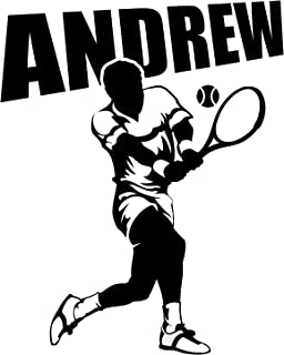 """Tennis Player Wall Room Personalized Custom Name Vinyl Wall Decal Sticker (X-LARGE: 27"""" x 32"""")"""