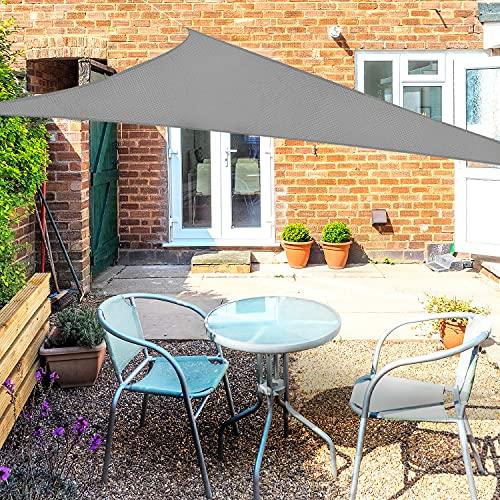 OKAWADACH Voile d'ombrage Triangle 2x2x2m Gris Voile de Soleil Imperméable Une Protection des Rayons UV à 95% pour Extérieur Terrasse Jardin Camping Fête Piscine avec Cordes