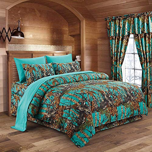 RC The Woods Premium Microfiber CAMO 5Pcs Printed Comforter Set-King Size (Teal)