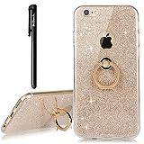 BtDuck Hülle für iPhone 6 Plus/6S Plus Glitzer Gold Handyhülle Ultra Slim Dünn mit Ring Metall Ständer Soft Transparent TPU Silikon Handyhüllen + Glitzer Papier 2 in 1 Schutzhülle Ständer Ringhalter
