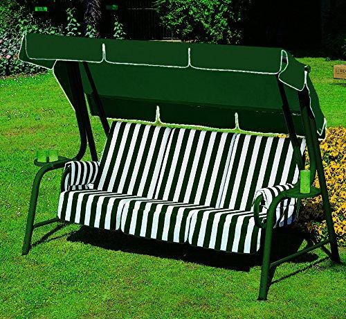 ARREDinItaly - Hollywoodschaukel 4-Sitzer mit Metallrahmen und Kissen Fantasia 60 - Gestell Waldgrün - 100% Made in Italy