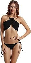 zeraca Women's High Neck Criss Cross Tie Side Bikini Swimsuits
