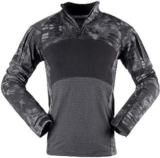 Chunmei Camicia da Corsa Sportiva Classica a Maniche Lunghe da Uomo Top Jogging da Palestra con Zip 1/4 da Allenamento Cam...