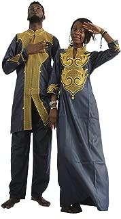 HD Dashiki African Couple Clothing,Traditional Bazin Women Maxi Wedding Dress & Man Shirts