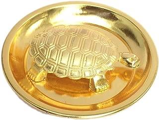 Vastu Feng Shui Golden Metal Turtle Tortoise Plate for Good Luck size 4-Inch Feng Shui Turtle Plate Best Gift for Career / Fengshui Tortoise / Turtle For Good Luck with Metal plate for stability