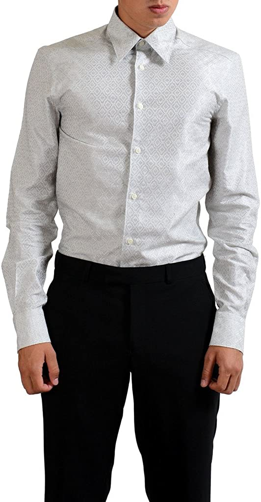 Versace Collection Trend Gray Patterned Men's Dress Shirt