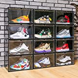 EZB - Magnetic Shoe Storage Box Drop Side/Front Sneaker Case Stackable...