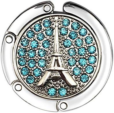 Set of 5 JewelBeauty Rhinestones Eiffel Tower Travel Folding Bag Purse Handbag Table Hook Hanger Holder Decor