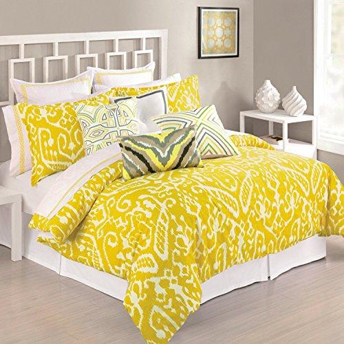Trina Turk Yellow Mustard Ikat King Duvet Cover Cotton