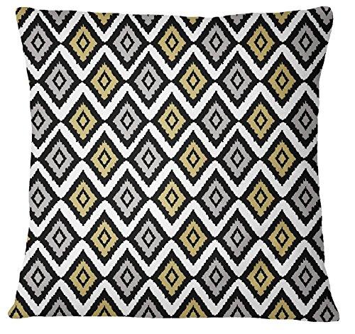 s4sassy decoración del hogar gris Ikat impresión funda de almohada cuadrada sofá cojín cubierta–elegir tamaño, raso, gris, 20 x 20 Inches