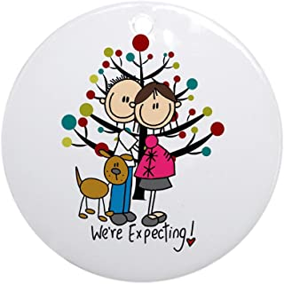 CafePress Christmas Expectant Couple with Dog Round Holiday Christmas Ornament